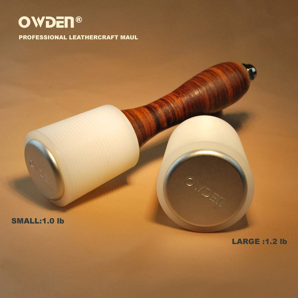 OWDEN Professional Leather Carving Hammer,leathercraft Hammer 1.2 LB Sizes:Large or Small Nylon Head with Leather Grip Handle,Leather Tools for Handmade DIY leathercraft