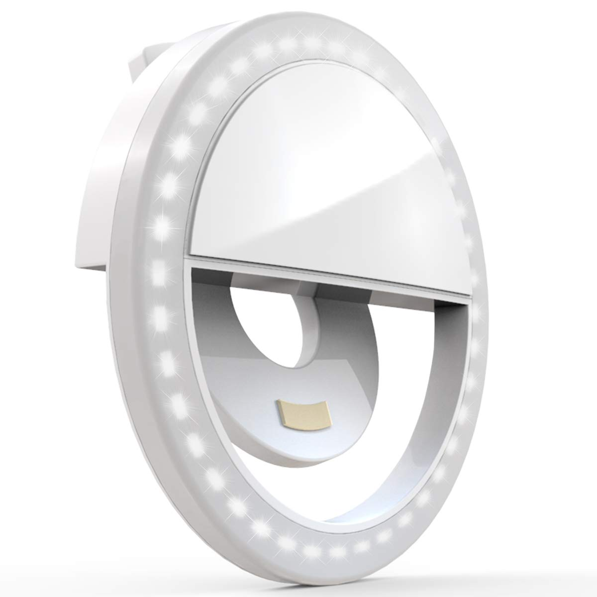 Auxiwa Clip on Selfie Ring Light [Rechargeable Battery] with 36 LED for Smart Phone Camera Round Shape, White by Auxiwa (Image #1)