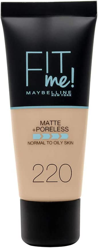 Maybelline New York, Base de Maquillaje que Calca a tu Tono Fit me! Mate y Afinaporos, Color: 220 Natural Beige, NU