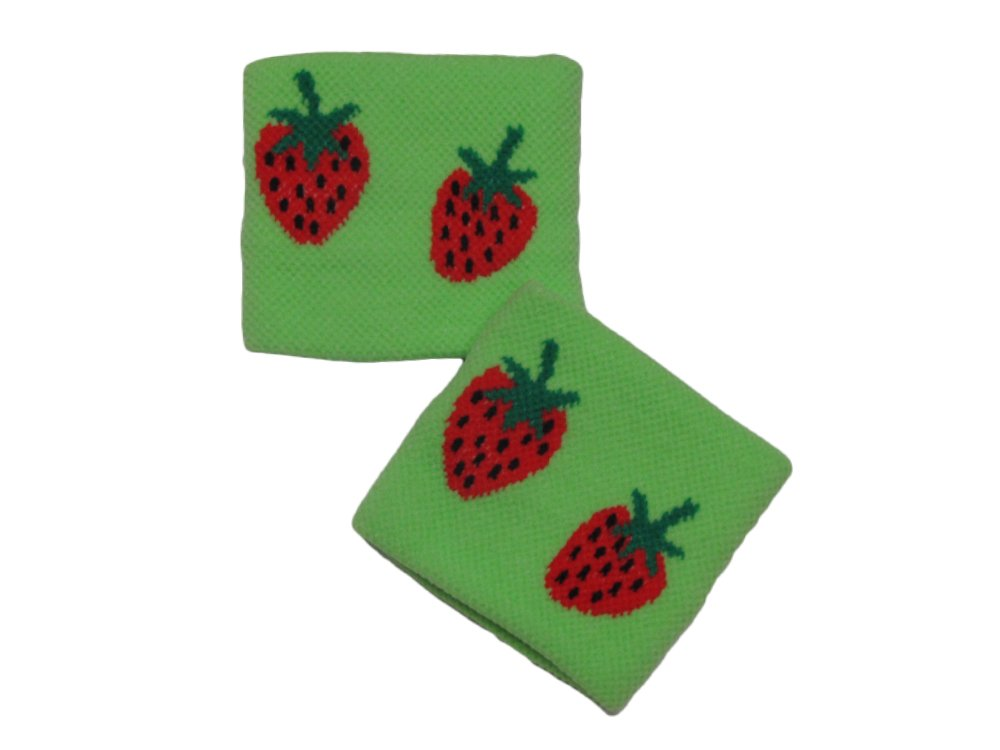 COUVER Cute Girl 2.5'' Width x 2'' Length Wristband, Green Strawberry(1 pair)