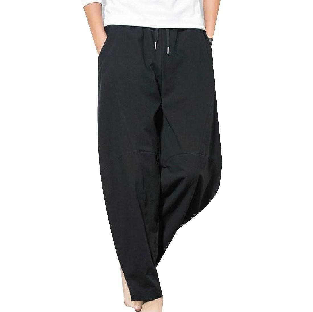 YUNY Men Athletic Wide-Leg Oversized Casual Flexible Fit Harem Pants Black 3XL
