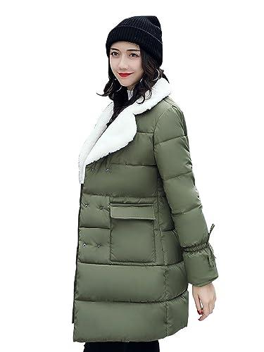 OCHENTA Mujer Abrigos Acolchado Chaquetas Casual Invierno Doble Abotonar Ejercito verde Etiqueta M-ES 34