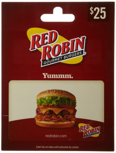 Red Robin Gift Card $25 Birthday Gourmet Dinner Gift
