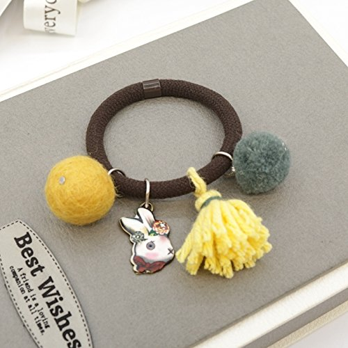 Korean wool felt poke fun cute sweet lady hair ring fringed wool Tousheng hair rope hair accessories for women girl lady