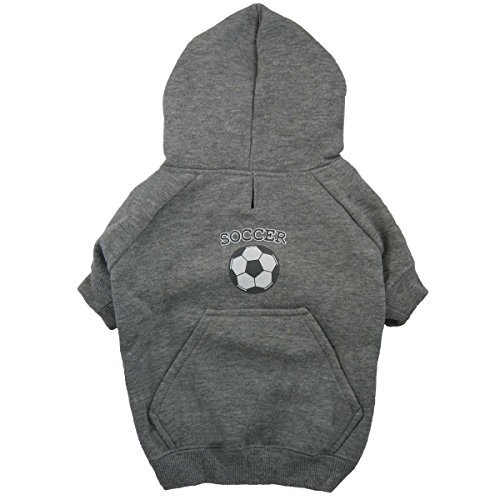 Casual Dog Couch (Gray Hooded Football Soccer Sweatshirt – Casual Canine Sports Knit Pullover Hoodie With Pocket)