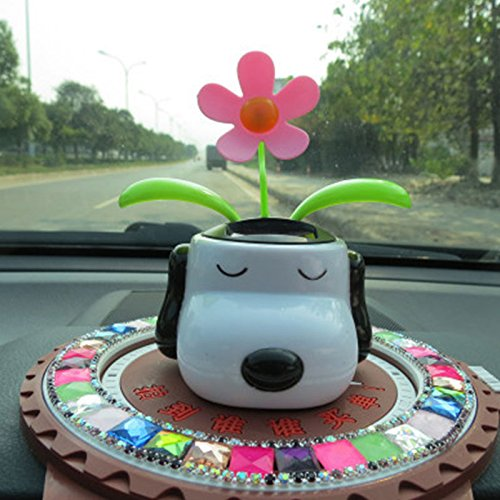 Amyove Car Toys Automobile Decoration Solar Powered Cartoon Dog Shape Flowerpot Flip Flap Leaf Dancing Car Toys ()