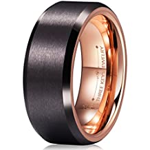Three Keys Jewelry 8MM Mens Tungsten Carbide Wedding Ring Coffee Brown Brushed Wedding Band for Men