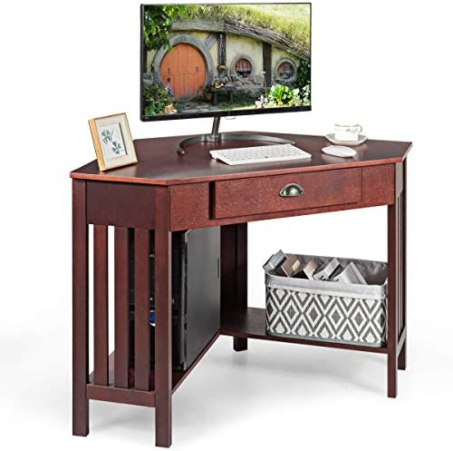 Tangkula Corner Desk, Corner Computer Desk, Corner Writing Desk with Drawer Shelves, Space Saving Corner Desk, Corner Table for Home Apartment and Office, Reddish-Brown