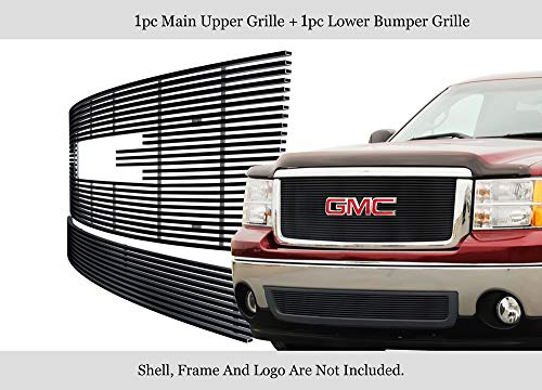 - APS Fits 2007-2013 GMC Sierra 1500 New /07-10 Denali Stainless Black Billet Grille #G67861J