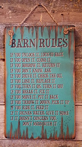 Barn Rules Rustic Western Antiqued Plaque Wooden ()