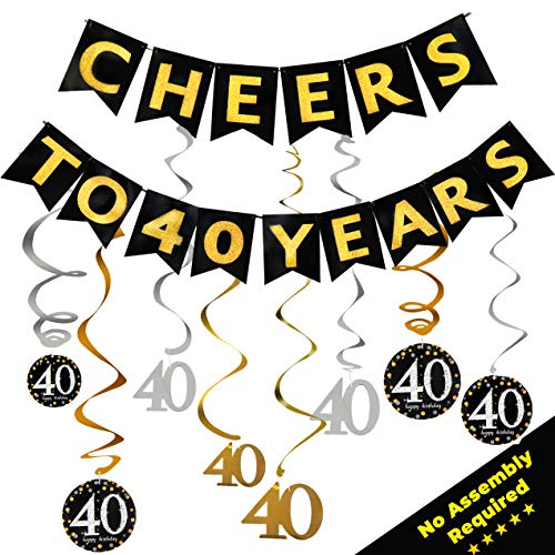 40th Birthday Decorations for Men & Women | 40th Anniversary Decorations - Our Party Supplies Come with a Cheers to 40 Years Banner & tons of Lovely Gold, Silver and -