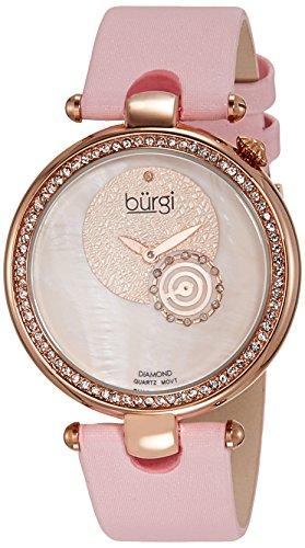 Burgi Women's BU42PK Round Dazzling Diamond Watch with Pink Satin Band