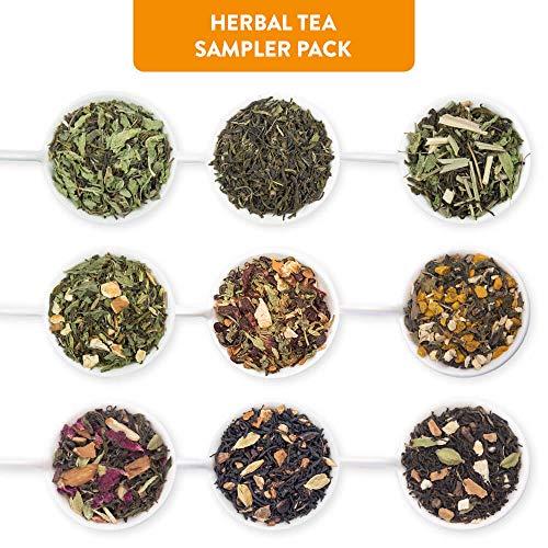 Blended Sampler Tea - Udyan Herbal Tea Sampler Pack, 9 Teas 0.35 oz each | 3.2 oz (36 cups) | 100% Natural Ingredients | Blended Whole Leaf Flavoured Tea | Tea Variety Pack
