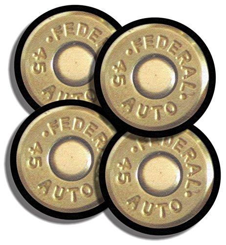 Federal Shells 45 acp Caliber Bullet Neoprene Coaster Set of 4 Guns Hunter Pistol Rifle Shotgun NRA