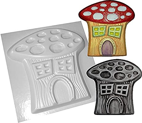 """Fairy on mushroom stepping stone mold plaster concrete mould 10/"""" x 1/"""" thick"""