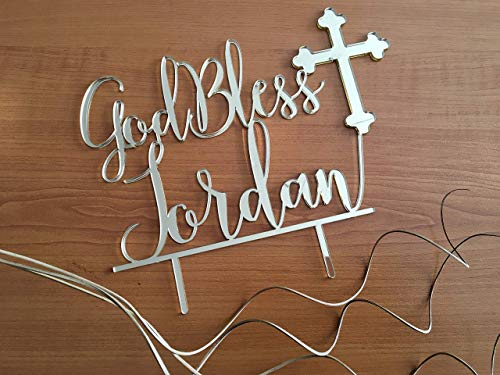 God Bless Baby Cross (Personalized God Bless Cake Topper with Cross Name Baby Baptism centerpiece Christening Topper 1st First Holy Communion Religious Toppers Blessed Custom Sign Christian Acrylic Party Anniversary Gifts)
