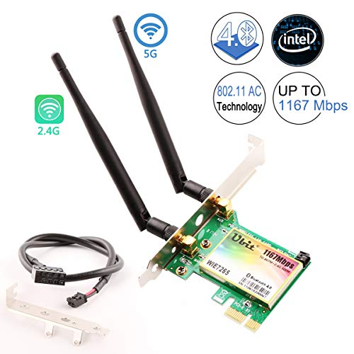 WiFi Card,Wireless Network Card, Ubit Wireless Wifi Dual Band Gigabit Adapter, AC 1200 Mbps with High-gain Antenna Bluetooth 4.0 PCI-E Wireless Wifi Network Adapter for PC/Gaming