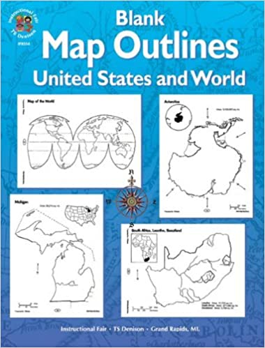 Amazoncom Blank Map Outlines United States and World