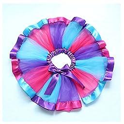 MsJune Little Girls Rainbow Tutu Skirt Dance Dress Ruffle Tiered Club Party