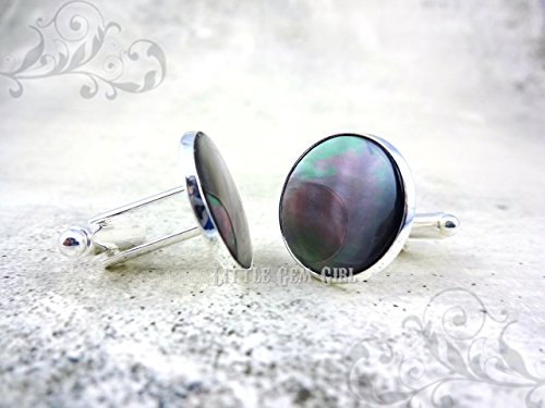 18mm White Mother of Pearl or Black Tahiti Pearl Cuff Links in Stainless Steel or Silver Plated finish - Genuine Flat Pearl Shell Cuff Links - Beach Wedding Groom Cuff Links