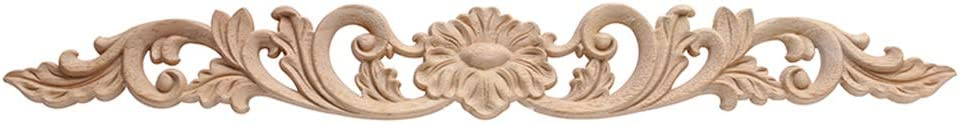 Beoot Wood Carved Long Onlay Applique Unpainted Frame Door Wall Home Furniture Decor (08, 40×5cm/15.75×1.97inch)