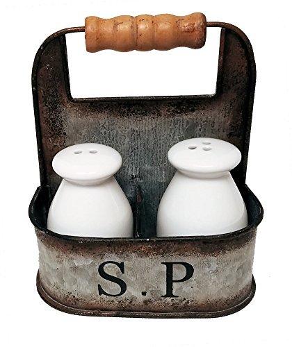 (Vintage Kitchen Decor Milk Bottle Salt and Pepper Shakers in Vintage Tin Carrier)
