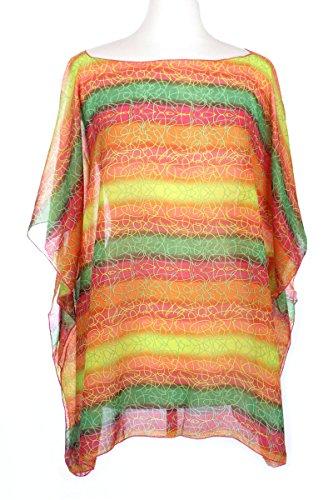 BSB LL Ladies Rainbow Jewel Tone Semi Sheer Chiffon Caftan Tall Womens Blouses Shawl