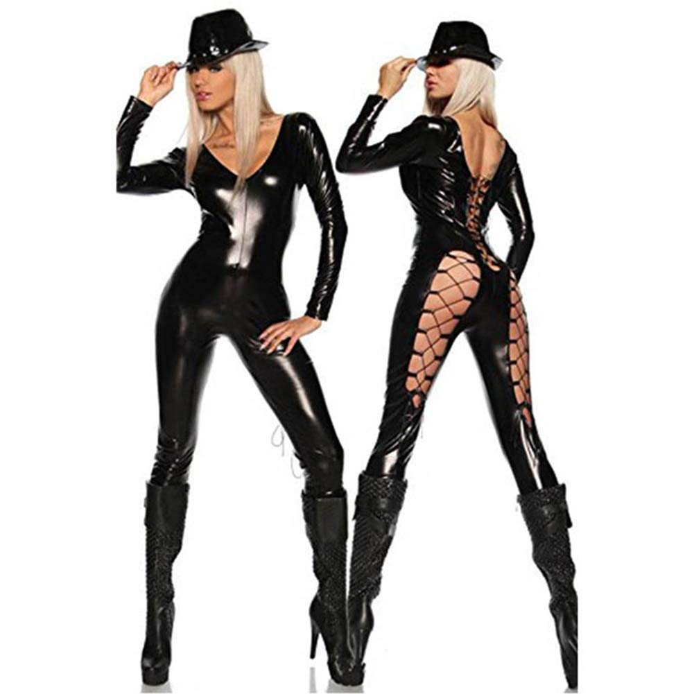 Encantes Nightclub Long-Sleeved Straps V-Neck Lacquered Jumpsuit Sexy Bar Punk Leather
