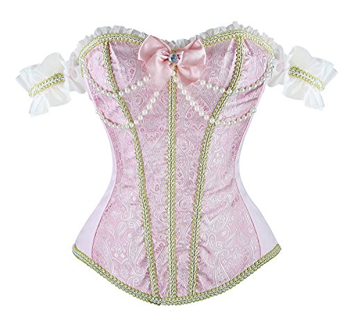 Blidece Women's Sexy Brocade OverBust Lace up Back Corset Bustier Top Pink S