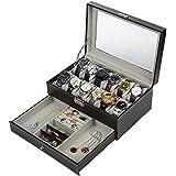 Readaeer Black Leather 12 Watch Box Jewelry Organizer Case with Jewelry Display Drawer