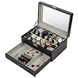 Readaeer Black Leather 12 Watch Box Jewelry Organizer Case with Jewelry Display Drawer
