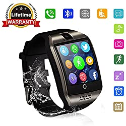 Bluetooth Smart Watch - WJPILIS Touch Screen Smartwatch Unlocked Smart Wrist Watch Phone Fitness Tracker With SIM SD Card Slot Camera Pedometer for Android Samsung LG IOS iPhone Men Women Kids (Black)