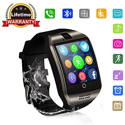 Bluetooth Smart Watch   Wjpilis Touch Screen Smartwatch Unlocked Smart Wrist Watch Phone Fitness Tracker With Sim Sd Card Slot Camera Pedometer For Android Samsung Lg Ios Iphone Men Women Kids  Black