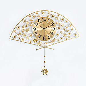 Wall clock Reloj Sala de Estar Inicio Reloj de Pared Moderno Minimalista silencioso Reloj de Cuarzo Sector Metal Shell Cristal Espejo 26 Pulgadas 24 * 24 cm Reloj Cara 16