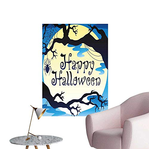 Wall Stickers for Living Room Happy Halloween Quote Spooky Night Moon and Branches Shadows Haunted Lights YEL Vinyl Wall Stickers Print,32