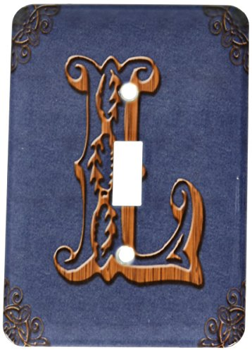 (3dRose LLC lsp_162070_1 Monogram Letter L in Victorian Western Font That Looks Like Carved Oak Wood on A Denim Background. Single Toggle Switch)