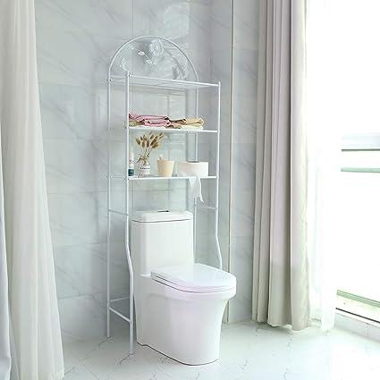Pissente Estanteria WC Blanco,3 Niveles Estante de Almacenamiento de Inodoro 62 x 32 x 180 cm