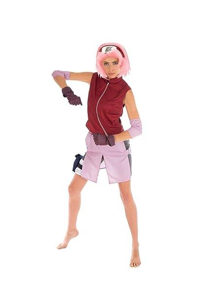 Naruto Disfraz Mujer Sakura Haruno 6 pzas Rosa Rojo: Amazon.es ...