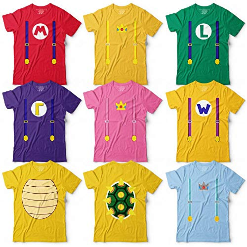 Super Maker Mushrooms Bros Character Costume Video Game Halloween Group Matching Customized Handmade T-Shirt Hoodie/Long Sleeve/Tank Top/Sweatshirt
