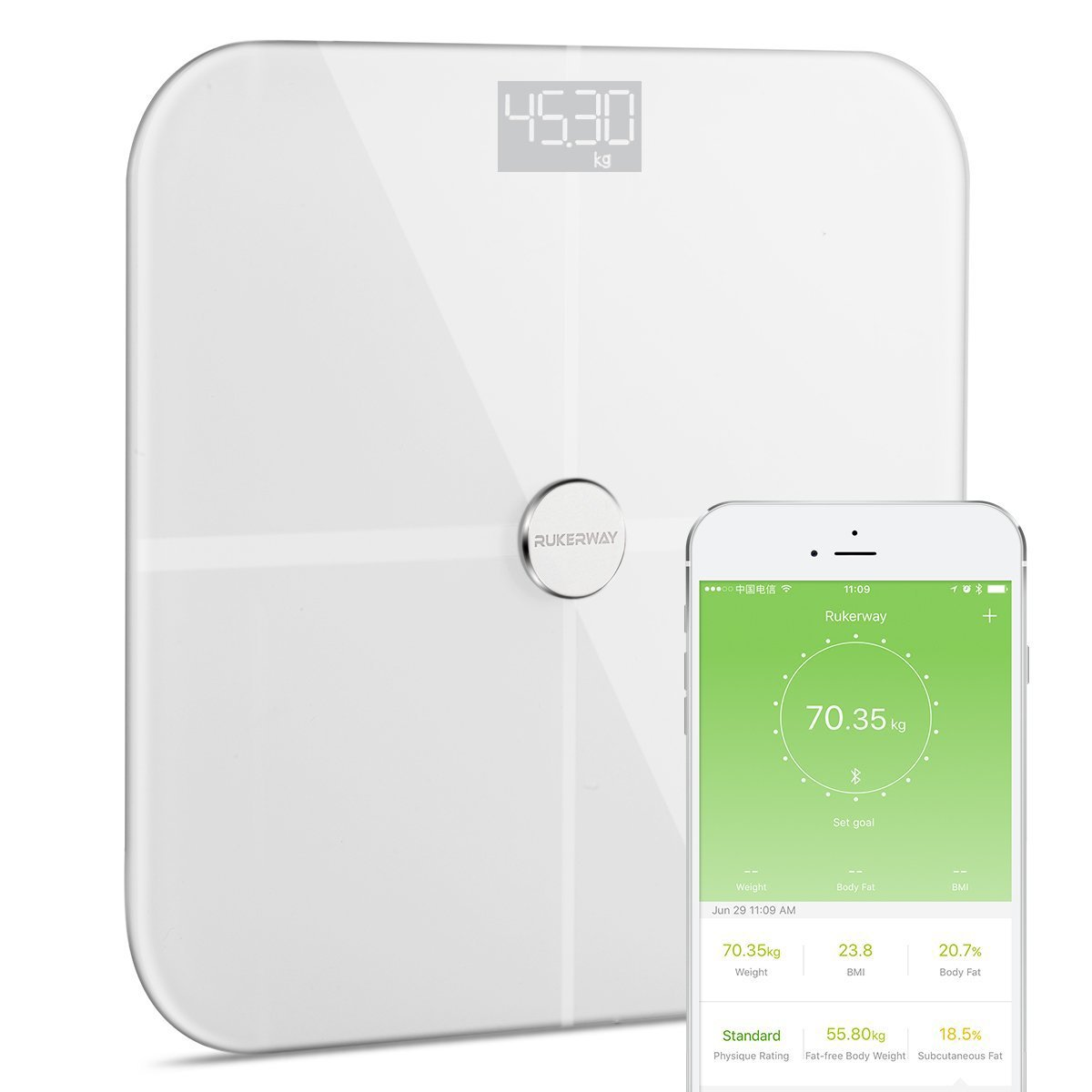 RUKERWAY BMI Weight Scale,ITO Smart Bluetooth Scale,Bathroom Scale Body Fat Analyzer Super Size Step ON Recognition for 14 Health Data: Weight, BMI,Body Fat,Protein,Muscle Mass