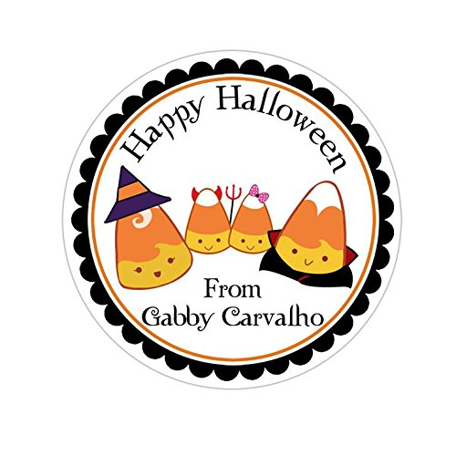 Personalized Customized Halloween Party Favor Thank You Stickers - Candy Corn Family - Round Labels - Choose Your Size]()