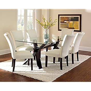 Amazon.com - Steve Silver Company Berkley Glass Top Dining Table, 42 ...