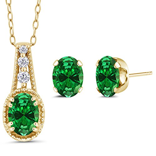 2.68 Ct Oval Green Simulated Emerald 14K Yellow Gold Pendant Earrings Set 14k Yellow Jewelry Set