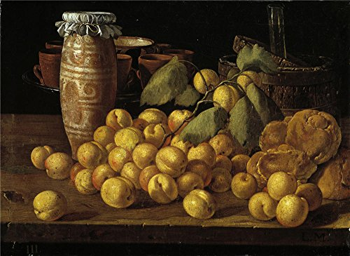 Oil Painting 'Melendez Luis Egidio Bodegon Albaricoques Bollos Y Recipientes Third Quarter Of 18 Century' 12 x 16 inch / 30 x 42 cm , on High Definition HD canvas prints, Home Office, Kids Roo decor