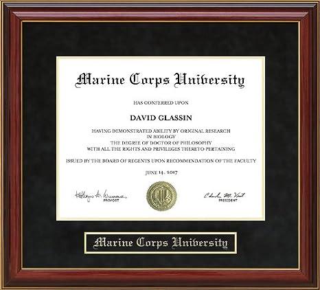 Amazon Com Wordyisms Marine Corps University Mcu Mahogany Diploma Frame