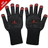 Grill Sense 932F Heat Resistant Cooking Gloves | Baking, Oven & Barbecue Gloves | Fire Gloves For Fireplace & Fire Pit | Grilling Gloves & BBQ Gloves | Smoker, Grill & Kitchen Accessories (1 Pair)