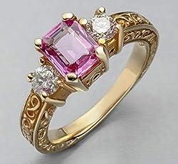 Pink Saphire Emerald Cut Diamond Anniversary Ring