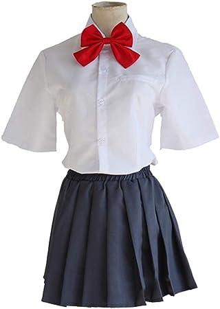 YKJ Camisa Blanca de Anime y Falda Negra Traje de Cosplay Uniforme de Secundaria de Carnaval de Halloween,As Shown-L: Amazon.es: Hogar