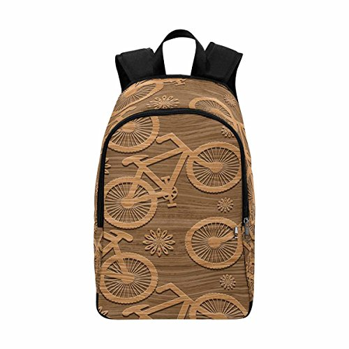 InterestPrint Wooden Bicycles School Backpack BookBag For College Travel Hiking by InterestPrint