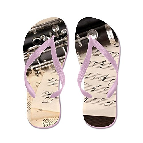 CafePress Musical Notes and Clarinet On Wooden Ta - Flip Flops, Funny Thong Sandals, Beach Sandals Pink